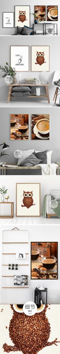 咖啡豆装饰画猫头鹰