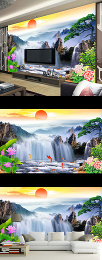 流水生财山水壁画中式电视背景墙