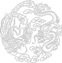 龙凤图雕刻图案