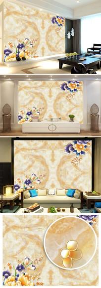 欧式大理石彩雕花朵沙发电视背景墙图片