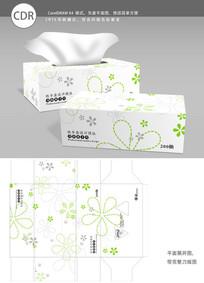浅绿色花纹背景纸巾盒包装设计