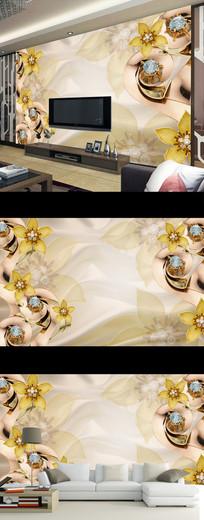现代简约时尚珠宝花卉壁画电视背景墙
