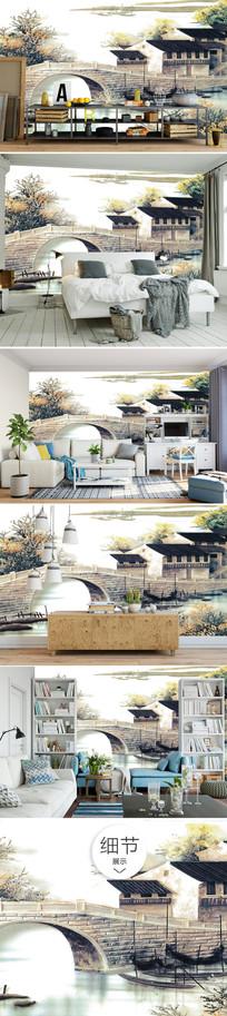 小桥流水意境风景画沙发背景墙