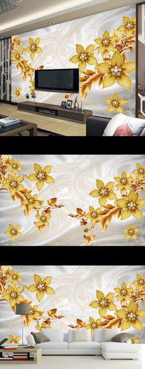 珠宝花朵丝绸时尚壁画电视背景墙