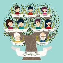 大家庭团队成员与树矢量图 AI