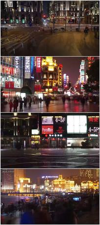 繁华上海都市夜景人潮视频