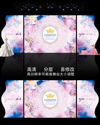 粉色水彩蝴蝶婚礼主题背景 PSD