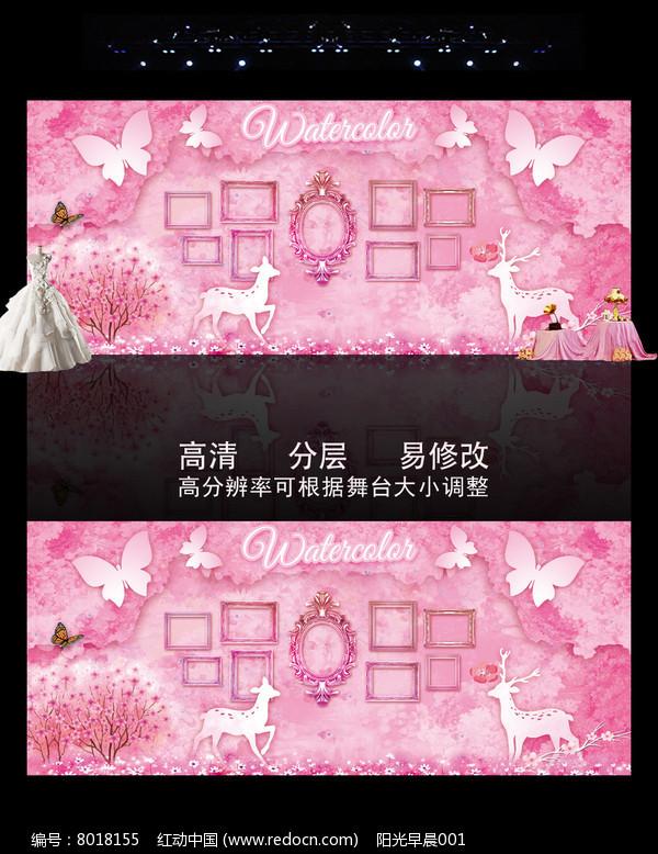 粉色水彩婚礼主题背景图片