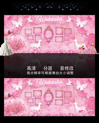 粉色水彩婚礼主题背景 PSD