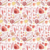 粉色枝条花朵背景图案矢量图