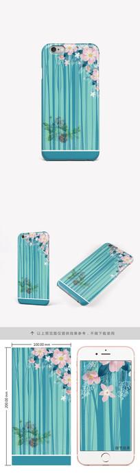 简约树林花朵手机壳图案 PSD