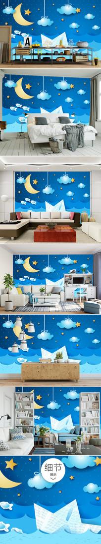 可爱卡通月亮星星河流沙发背景墙