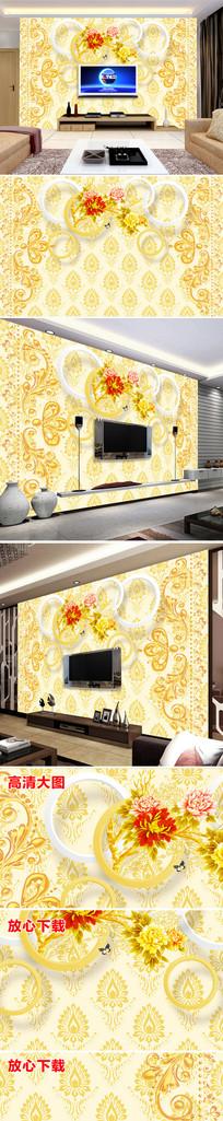 欧式花纹花朵电视背景墙