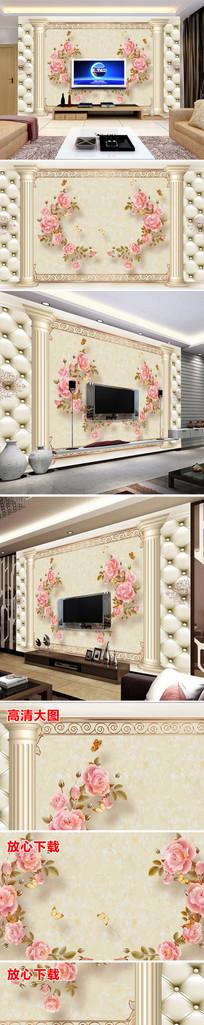 欧式花纹花卉电视背景墙