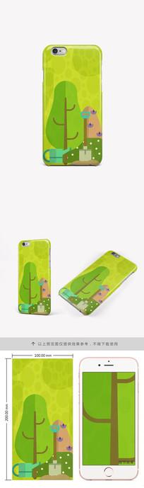 清新树木风景手机壳图案