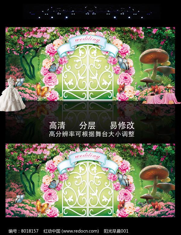 时尚精美森系绿色婚礼主题背景图片