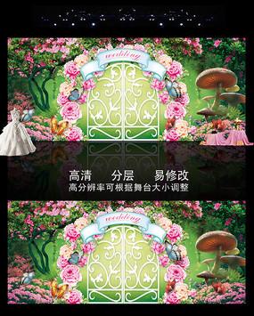 时尚精美森系绿色婚礼主题背景 PSD