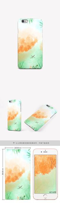 手绘意境水彩风景手机壳图案