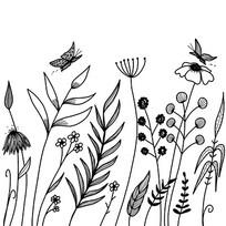 手绘植物与蝴蝶图案AI