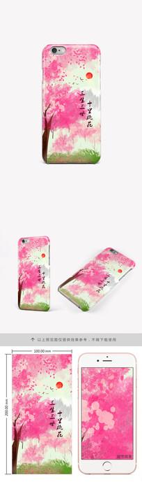 水彩桃花风景手机壳图案