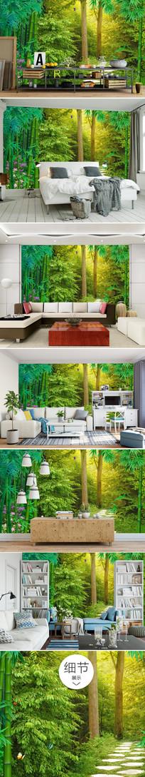 唯美绿色森林树林沙发背景墙
