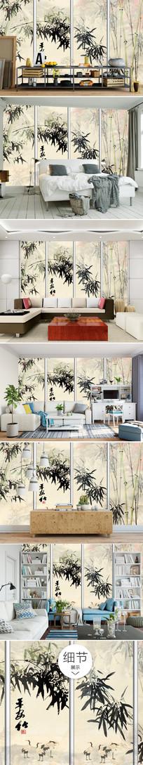 新中式唯美大气沙发背景墙 TIF