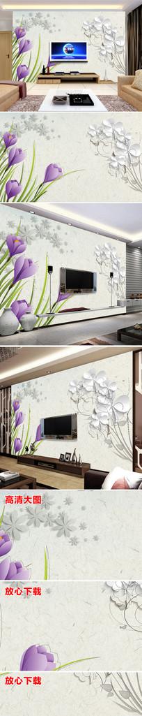 新中式唯美现代电视背景墙花朵紫色 TIF