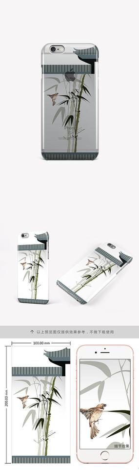 中国风创意翠竹手机壳图案