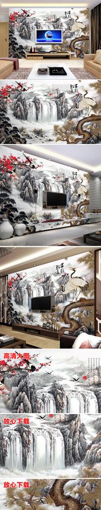 中国风大气唯美瀑布客厅电视背景墙