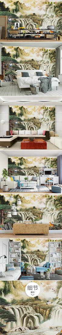 中国风山水风景 画沙发背景墙