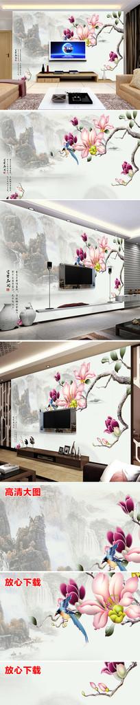 中国风唯美花鸟电视背景墙