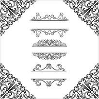 欧式花边花纹边框矢量图案
