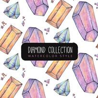 水彩钻石图案背景矢量图