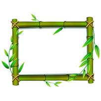 竹子边框小报模板AI