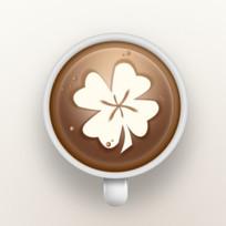 四叶草咖啡杯图标 PSD