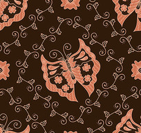 面料蜡染花卉蝴蝶图案