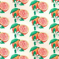 手绘柚子背景图案 AI