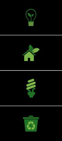12个绿色动态ECO生态环保图标视频