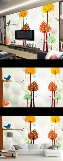 现代简约卡通花鸟儿童房壁画电视背景墙