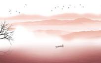 新中式抽象意境水墨山水画背景墙壁画