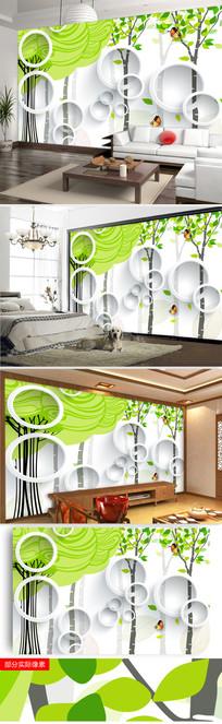 3D抽象树电视背景墙图片