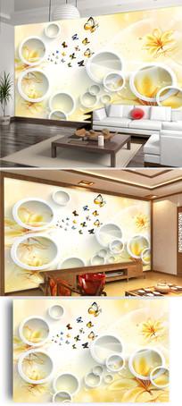 3D立体圆圈花朵花卉简约电视背景墙图片