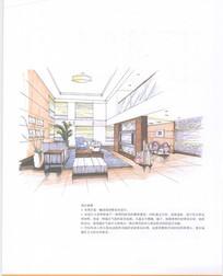 别墅室内客厅透视图