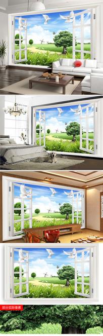 窗户大自然风景客厅电视背景墙图片