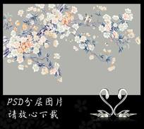 高清手绘梨花花鸟背景墙