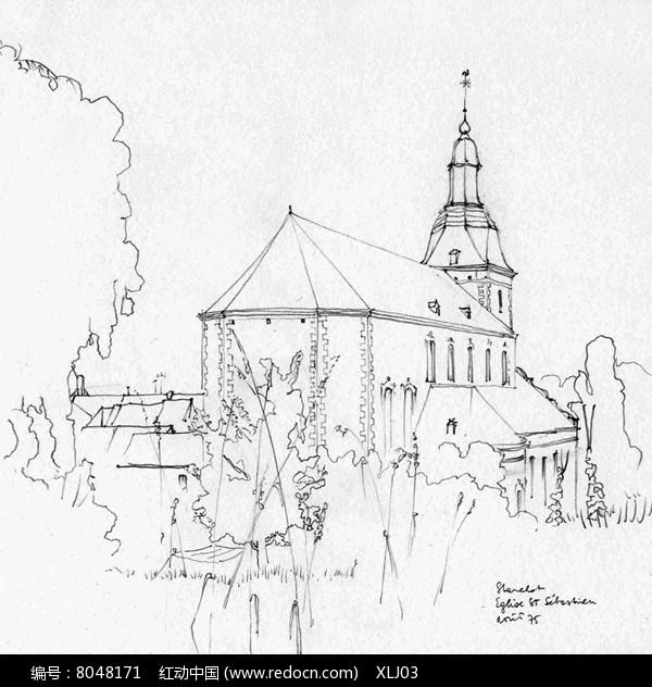 公园旁的城堡建筑手绘图