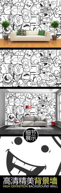 黑白线绘涂鸦表情艺术电视背景墙