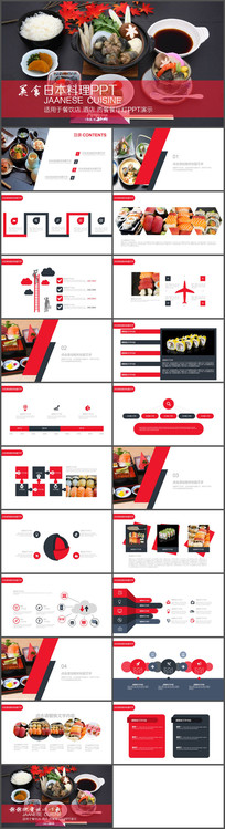 红色美食日本料理PPT模板