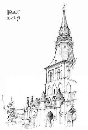 花柱教堂手绘 街道城市景观 教堂景观 会展城市建筑 尖塔欧式复古建筑图片