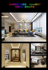 简约时尚室内设计3D效果图和3D模型